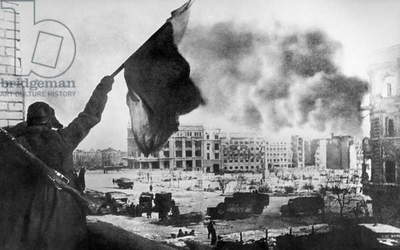 The Victory Banner Over The Square In Stalingrad