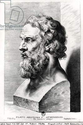 Bust of Plato (c.427-c.348 BC) engraved by Lucas Emil Vorsterman (1595-1675) (engraving) (b/w photo)