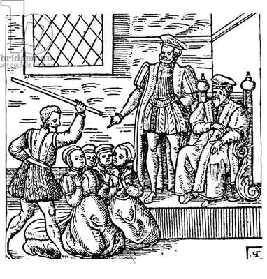 James I (1566-1625) of England and VI of Scotland Examining the North Berwick Witches, from 'Newes from Scotland', 1591 (engraving) (b&w photo)