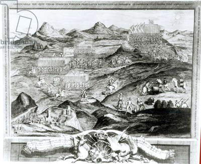 The Battle Array of Carberry Hill near Edinburgh with the Surrender of Mary, Queen of Scots to the Confederate Lords of Scotland and the Escape of Earl Bothwell in 1567, engraved by the artist, 1743 (engraving)