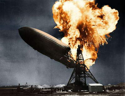 German dirigible LZ-129 Hindenburg here in flame when he arrived in Lakehurst airport near New York May 6, 1937