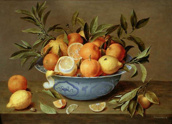 Image of Still Life with Oranges and Lemons in a Wan-Li Porcelain Dish (oil on panel), Hulsdonck, Jacob van (1582-1647) / Dutch, 42.8x61 cms, © Johnny Van Haeften Ltd., London / Bridgeman Images