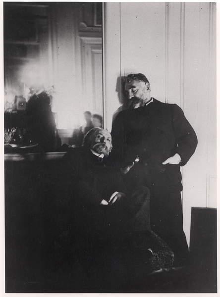 Image of Auguste Renoir (1841-1919) and Stephane Mallarme (1842-98) (b/w photo), Degas, Edgar (1834-1917) / French, Bibliothèque Littéraire Jacques Doucet, Paris, France, © Archives Charmet / Bridgeman Images