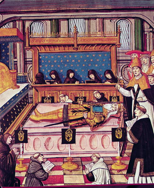Image of The Death of Charlemagne in 814 (vellum), French School, (14th century) / French, Bibliotheque Nationale, Paris, France, Charles the Great, Holy Roman Emperor (747-814); Carolus Magnus;© Index Fototeca / Bridgeman Images