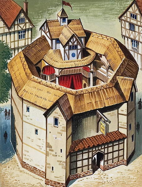 Image of The Globe Theatre, gouache on paper, © Look and Learn / Bridgeman Images