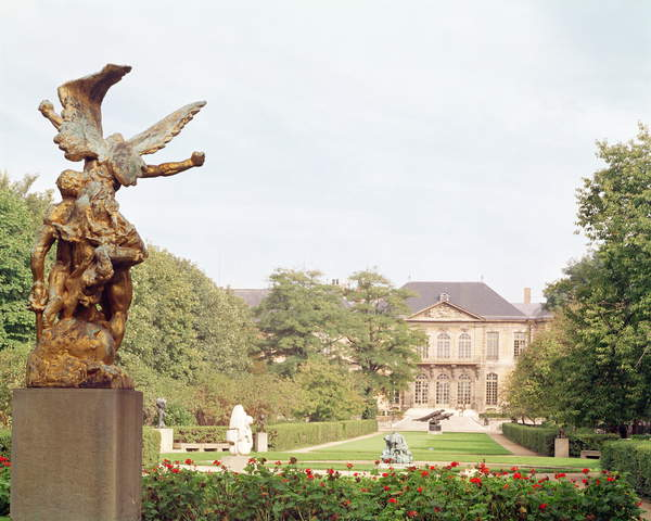 View of the museum grounds with 'Call to Arms' by Auguste Rodin (photo), Musee Rodin, Paris, France, Musee Rodin opened in 1919 in the Hotel Biron; La Defense; Call to Arms, 1879 (bronze) height 111.8cm; Auguste Rodin (1840-1917); Photo © Boltin Picture Library / Bridgeman Images
