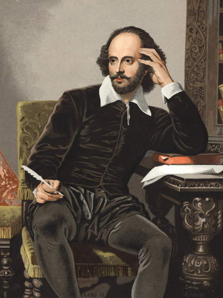 """Image - Portrait of William Shakespeare (1564-1616). from """"hombres y Mujeres celebres"""". Barcelona 1877 (engraving), Stefano Bianchetti, Private Collection, chromolithograph, © Stefano Bianchetti / Bridgeman Images"""