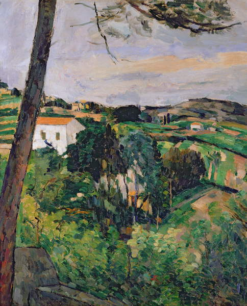 Image of a Landscape with red roof or The pine at the Estaque, 1875-76 (oil on canvas) (see also 287551), Cezanne, Paul (1839-1906) / French, Musée de l'Orangerie, Paris, France, © Bridgeman Images