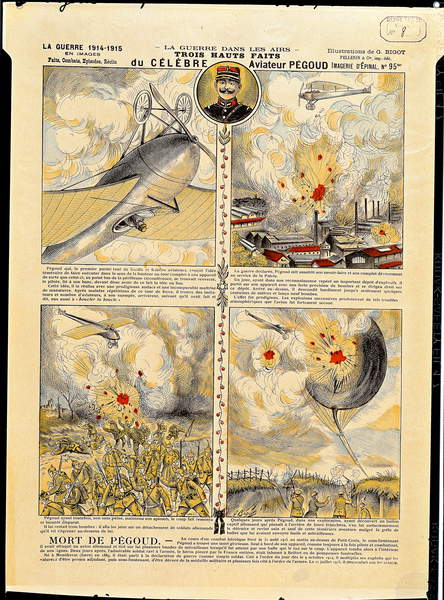 Image of The Feats of Adolphe Pegoud (1889-1916) c.1916 (coloured engraving), French School, (20th century) / French, Bibliotheque Nationale, Paris, France, (C20th), first pilot to shoot down five german aircraft during WWI: First World War; © Bridgeman Images