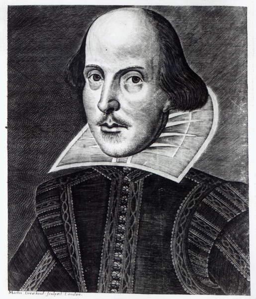 Image -  Portrait of William Shakespeare, engraved by Martin Droeshout, 1623 (engraving) (b/w photo), English School, (17th century) / English, © Bridgeman Images