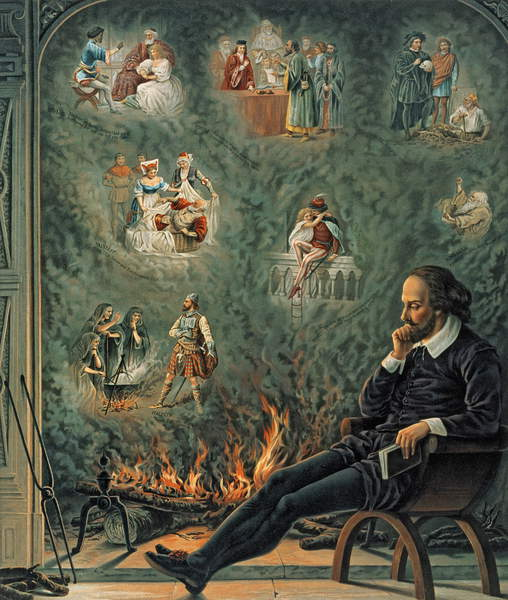 Image of The Genius of Shakespeare (presented with 'Great Thoughts' Christmas Number), pub. 1888 by W. Hobbs & Sons (chromo-lithograph), (C19th), ©  Bridgeman Images