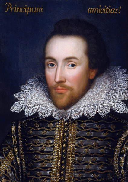 Image of William Shakespeare, the Cobbe Portrait, c.1610 (oil on panel), English School, (17th century) / English, Hatchlands Park, Surrey, UK, © PVDE / Bridgeman Images