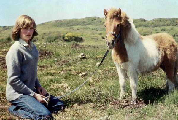 Image of Diana Spencer and her pony, future princess of Wales Diana in Scotland, 1974. Here with her Shetland pony called Souffle, during summer 1974 / © Bridgeman Images