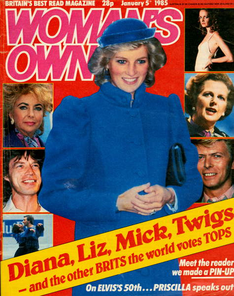 Cover of Woman's Own Magazine, January 1985, Diana Spencer (1961-97) Princess of Wales / © The Advertising Archives / Bridgeman Images