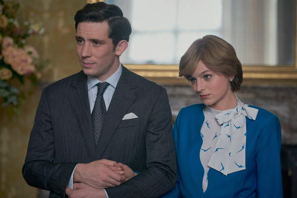 Image from The Crown series, 2020, Des Willie, film still, 2020 (C21th), from left: Josh O'Connor as Prince Charles, Emma Corrin as Diana Princess of Wales, 'Gold Stick', (Season 4, ep. 401, aired Nov. 15, 2020) / © Netflix / Everett Collection / Bridgeman Images