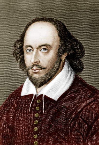 Image of William Shakespeare (1564-1616) English poet and playwright, engraving colourized document, ©  Bridgeman Images