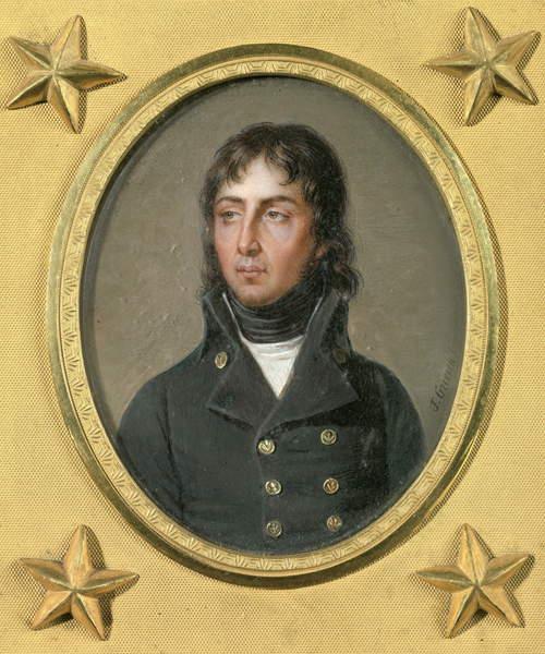 Image of a Portrait of General Louis Charles Antoine Desaix, 1797 (oil on canvas on ivory), Guerin, Jean-Urbain (1761-1836) / French, Musée-Hôtel Bertrand, Chateauroux, France, Photo © Photo Josse / Bridgeman Images