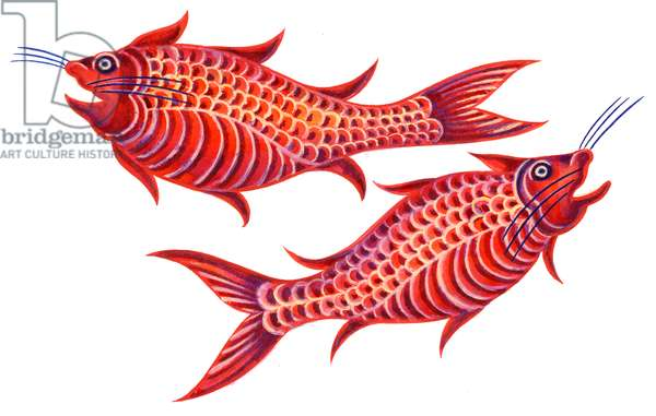 Fish Pisces, 1996, (ink and gouache)