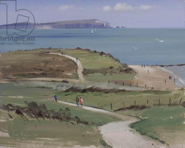 Isle of Wight and sail boats from Hengistbury head, April