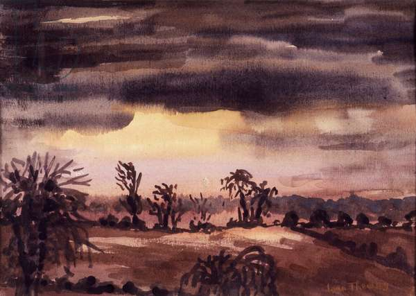 Fields in a Winter Dusk,1992,water colour on handmade paper