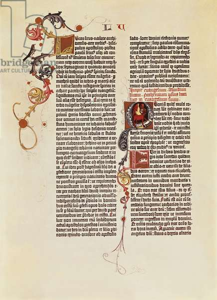 Page of the Bible of 42 lines (Mazarina) printed by Johann Gutenberg, 15th Century.