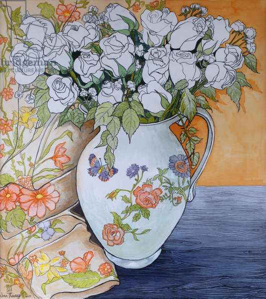 White Roses in a Patterned Jug, 2011 (pencil and w/c on paper)