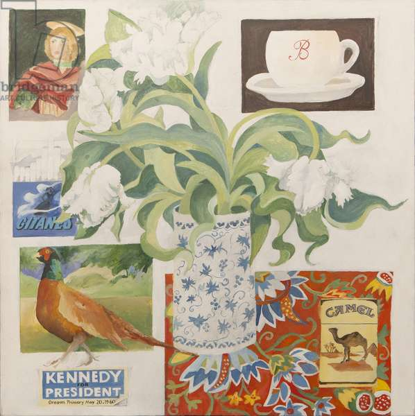 Ephemera, including coffee cup, cigarette packs; postcard and tulips