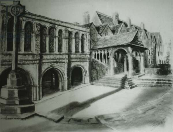 King's School Courtyard, Canterbury, 2000 (charcoal on paper)