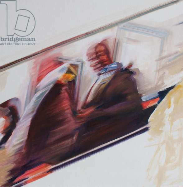 Commuters I, 2015, (oil on silk)