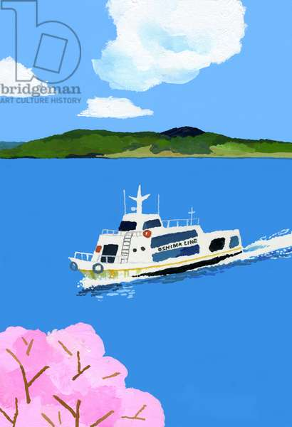 Tourist boat and cherry blossom