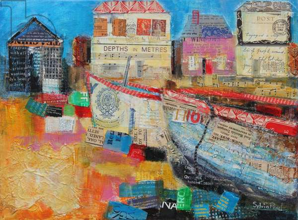 Old Fishing Boats; 2013, acrylic/paper collage