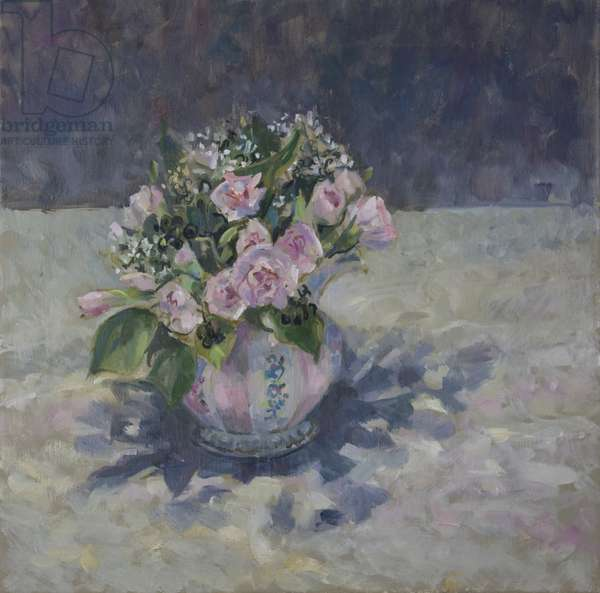 Pinks in stripey jug, 2013, (oil on canvas)