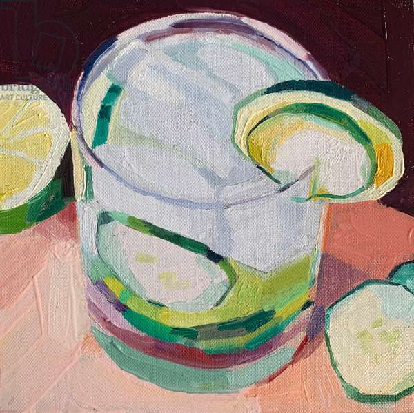 Gin and tonic, 2020, oil on board