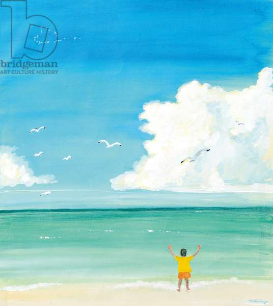 a boy front of the seaside,2016,(Acrylic paint on canvas)