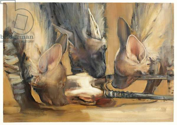 Pack Attack (Young Striped Hyaenas) (oil on paper)