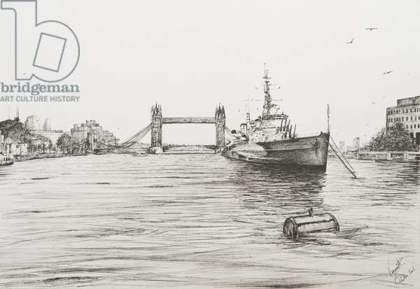 HMS Belfast on the river Thames London, 2006, (ink on Paper)