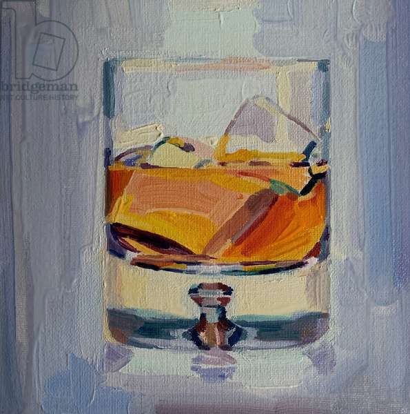 He likes a whisky drink, 2019, (oil on board)