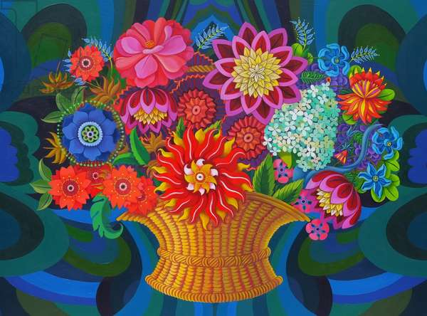More blooms in a basket, 2013, (oil on canvas)