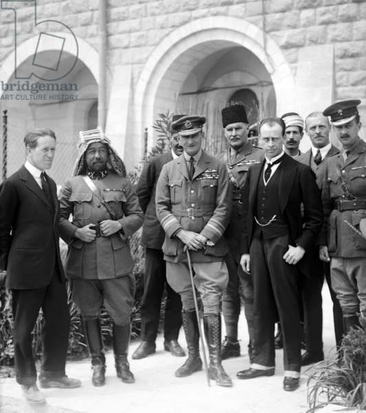 Palestine: Lt Col T. E. Lawrence, Emir Abdullah, Air Marshal Sir Geoffrey Salmond, Sir Herbert Samuel H.B.M. high commissioner and Sir Wyndham Deedes and others in Jerusalem, 1920