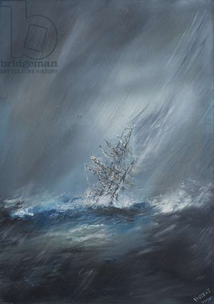 HMS Beagle in Storm off Cape Horn 24th December1832. 2012, (oil on canvas)