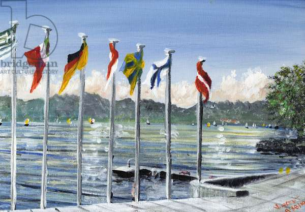 Flags on Lac Leman, 2010, (acrylic on canvas board)