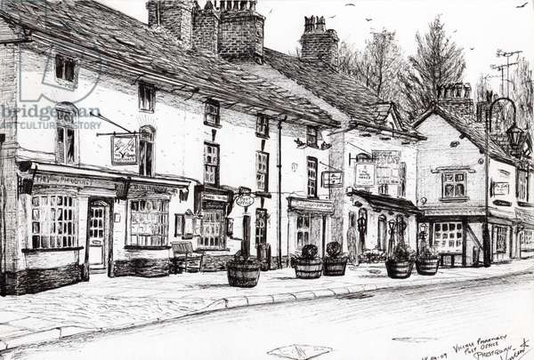 Post office Prestbury, 2009, (ink on paper)