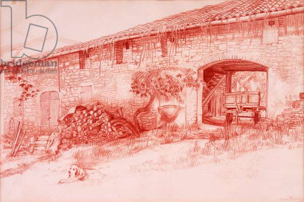 Farmhouse, Provence, 2000, Terra cotta conte` pencil