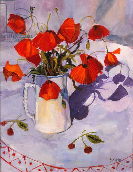 Sun lit poppies, 2003, (oil on board)