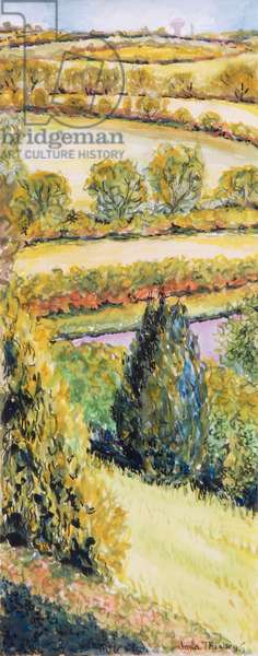 Suffolk Landscape, view from the front window, 2000 (watercolour)