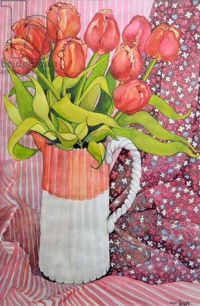 Tulips in a Pink and White Jug,2005 (watercolour)
