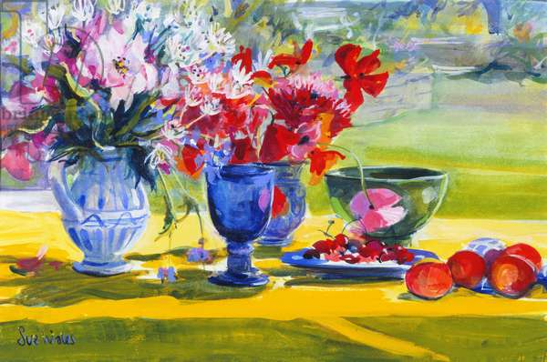 Midsummer flowers on garden table, 1993 (gouache on paper)