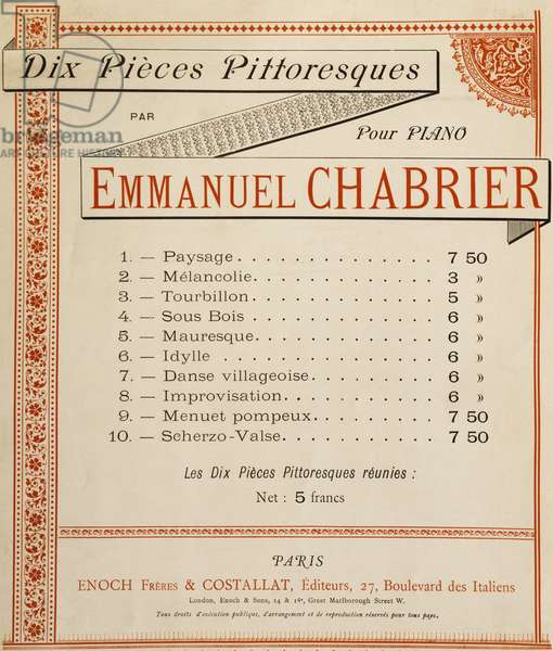 Title page of Collection of ten pieces for piano picturesque, Emmanuel Chabrier (1841-1894)