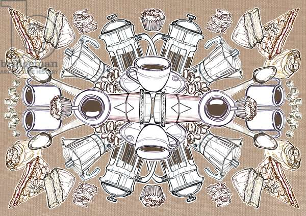 Coffee and Cake, 2014, (pencil, digital)