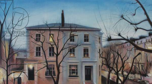 Houses at Dusk, 2014, (oil on linen)